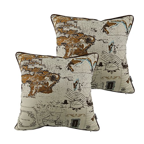 Antiquarian Map - Thanksliving Antiquarian Map Compass Linen Decorative Pillowcase Cushion Cover Throw Pillow Cover 18