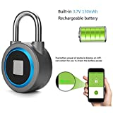 ExGizmo Fingerprint Tapplock Smart Key APP Control Button Fingerprint Password Unlocked Case Lock for Android iOS Blue