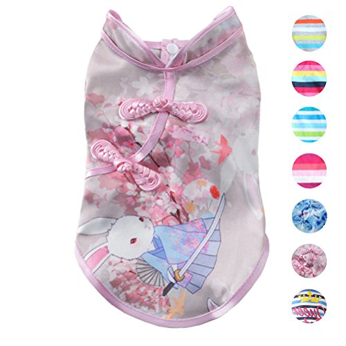Alroman Dog Pink Cheongsam Shirts with Bunny Rabbit Pattern Puppy Easter Shirts Pet Vest Female Dog T-shirt Clothing Puppies Clothes for Small Dogs Doggie Tee Summer Apparel Beach Wear Dresses Costume