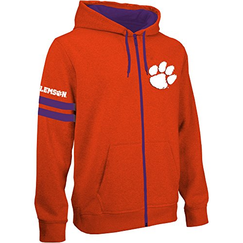 Elite Fan Shop NCAA Clemson Tigers Men's Zip Up Hoodie Sweatshirt Gray Applique Icon, Dark Heather Gray, X-Large