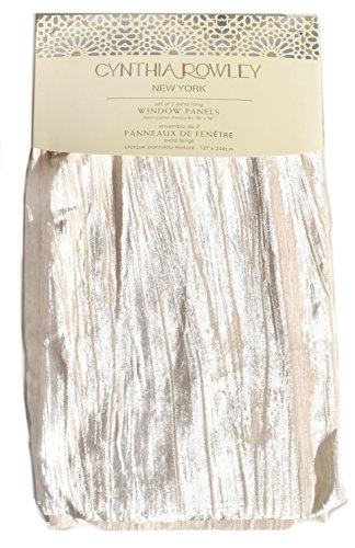 Cynthia Rowley Silver Grey Vintage Velvet Pair Window Curtain Panels 96 inch Long Gray Stripe Textured (Ivory)