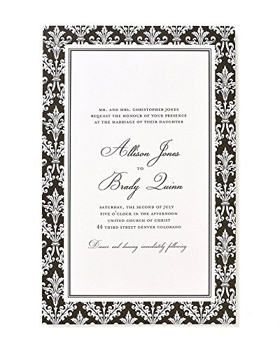 Invitations Wedding Damask Black - Gartner Studios 81376 Black Damask Invite Kit, 50 Ct.