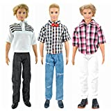 E-TING 3 Sets = 6 PCS Casual Clothes Pack Fashionable Doll Suits Outfits Tops Pants Trousers for Boy Dolls