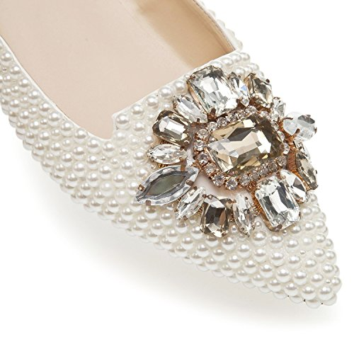 White TDA Toe Evening Flats Women's Bridal Beaded MA1179 Pointed Party Shoes Wedding rSPwrZq