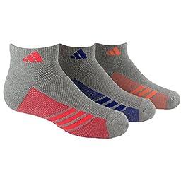 adidas Girls Cushion Low Cut Socks (Pack of 3), Heathered Light Onix/Flash Orange - Night Flash Purple - Flash Red, Medium