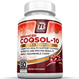 BRI Nutrition COQ10 Ubiquinone - 2.6x Higher Total Coenzyme Q10 COQSOL® Absorption than normal COQ10 - 100mg Maximum Strength Supplement - 60 Day Supply 60 Softgels