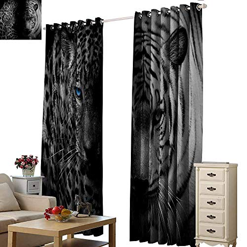 - Homrkey Decor Curtains Black and White Leopards with Blue Eyes Aggressive Powerful Wildcat Profile Print Tie Up Window Drapes Living Room W96 xL72 Black White Blue