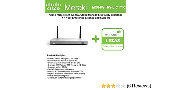 Cisco Meraki MX64W Wireless Firewall Security Appliance Bundle, 200Mbps FW,  5xGbE Ports - Includes 1 Year Enterprise License