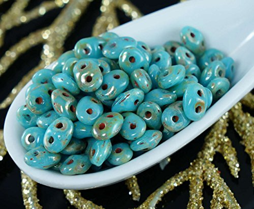 20g Turquoise Blue Picasso SUPERDUO Czech Glass Seed Beads Two Hole Super Duo 2.5mm x 5mm