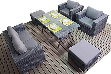 Manhattan Grey Garden Furniture Sofa Dining Table Set