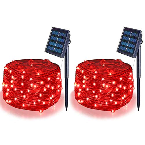 Mother\'s Day Gift Solar String Lights (2 Pack) ,Solar Fairy Lights,16.4Ft 50LEDS IP65 Waterproof Wire Lighting for Indoor Outdoor Christmas Tree Halloween Home Garden Wedding Party Decoration(Red)