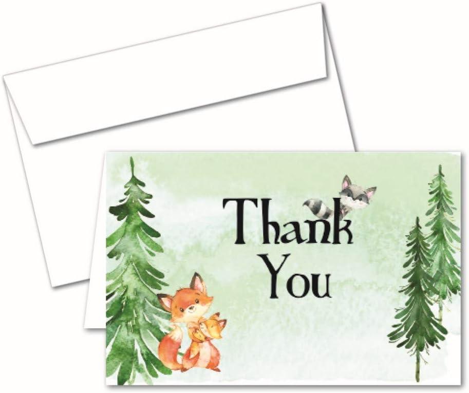 우드랜드 생물: 50 감사합니다 노트 아기 샤워 어린이 생일에 대한 카드와 봉투를 참고합니다. 소년 소녀 또는 중립을위한 소박한 우드 랜드 파티 용품 및 장식의 숲 동물 테마