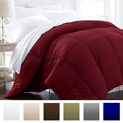 Beckham Hotel group 1200 Series - sleek and chic - Luxury Goose lower alternate Comforter - Hotel top quality Comforter and Hypoallergenic - King/Cal King - Burgundy