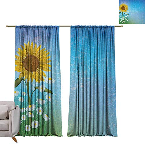 berrly Tie Up Printed Blackout Curtain Sunflower,Grunge Floral Illustration with Sunflower and Chamomiles Pastel Summer Art, Blue Yellow Green W72 x L84 Tie Up Window Drapes Living Room