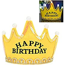 Lujuny LED Happy Birthday Crown Headband – Party Supplies Decorations Set Includ Flag Banner Horns Cake Topper Cards