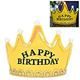 Lujuny LED Happy Birthday Crown Hat – Flashing Light Up Party Headband Cap Supplies Decorations (YELLOW)