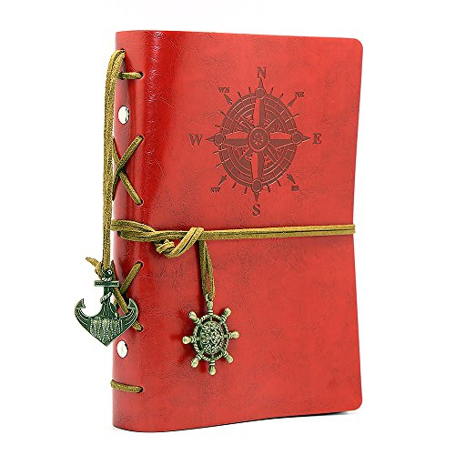 Vintage Leather Cover Journal Diary String Nautical (Red) - 2