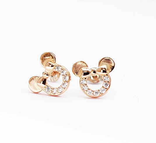 findout sterling silver Cubic Zircons hollow Mickey Mouse earrings .for women girls .(f1696) z6mIDLBo