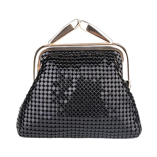 expouch Women's Small Buckle Coin Purse Classic Aluminum Metal Mesh Pouch for Women Girls (Black Buckle Purse)