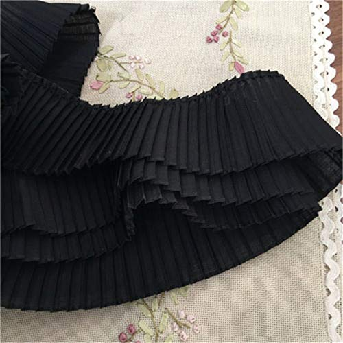 5Yards Ruffle Lace Pleated Trims DIY Ribbons 3.14 inches Width Craft Sewing Home Decor Dress Garment Accessories ()