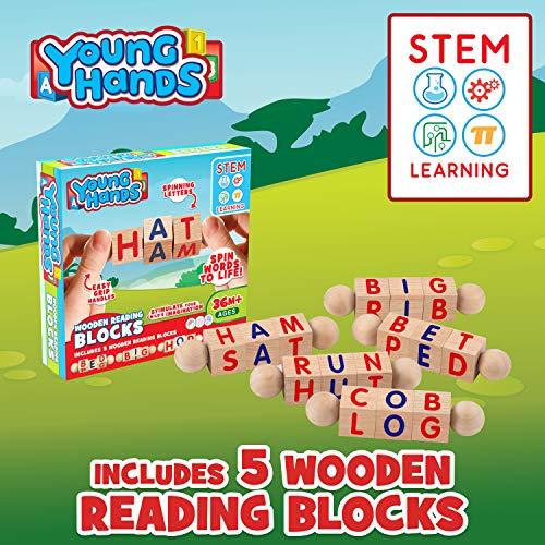 5 Educational Spinning Alphabet Manipulative Blocks for Children w// Easy-Grip Handles Wooden Reading Blocks | Sets of Fun STEM /& Montessori Approved Toy for Pre-Kindergarten Boys /& Girls Gift