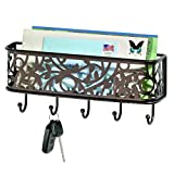 InterDesign Vine Mail Holder and Key Rack – Wall Mounted Letter Organizer and 5 Key Hooks, Bronze