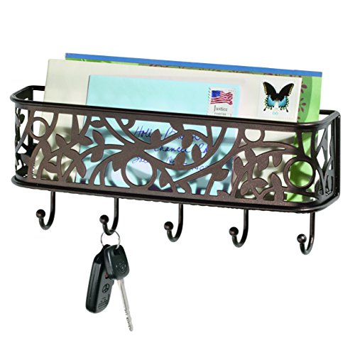 InterDesign Vine Mail Holder and Key Rack – Wall Mounted Letter Organizer and 5 Key Hooks, Bronze - Key Holder Wall Rack