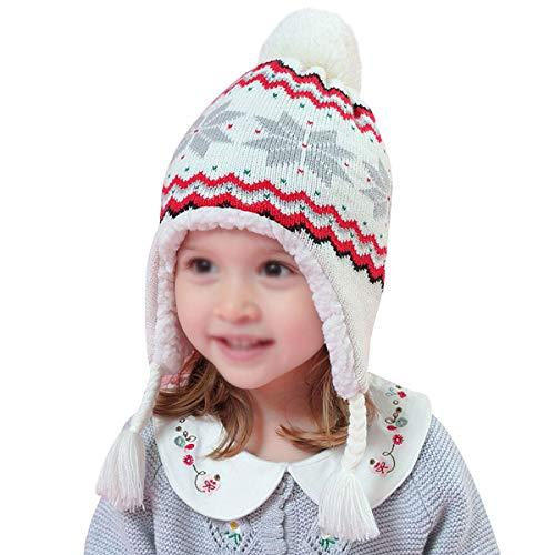 Rebecca Kids Girl Winter Knit Hat Soft Earflap Snowflake Beanie Cap Outdoor Ski Hat (White)