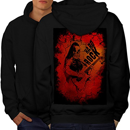 wellcoda Hard Rock Guitar Music Mens Hoodie, Dead Printed on The Jumpers Back Black XL