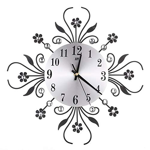Modern Crystal Diamond Wall Clock, Luxury Flower Wall Clock Silent Metal Clock for Living Room, Bedroom, Home Wall Art Decoration (Black)