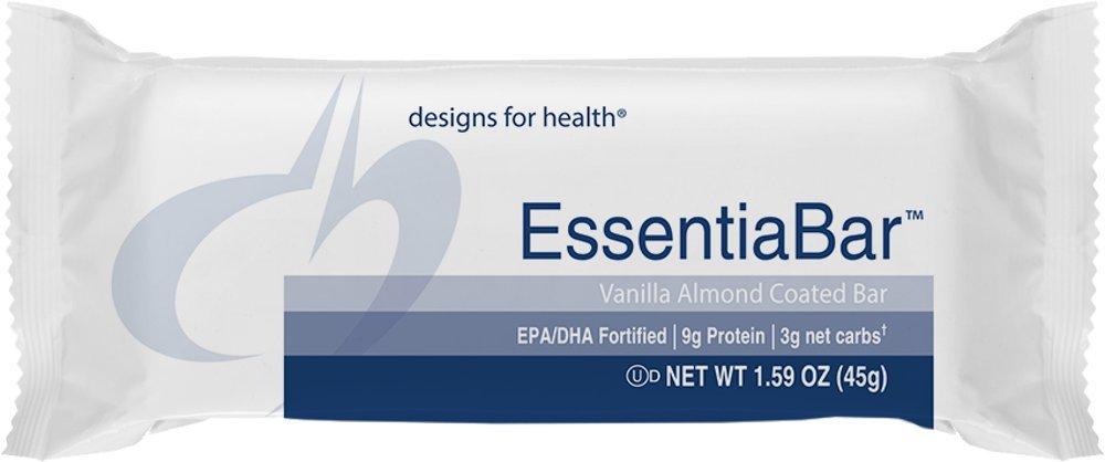 Designs for Health - EssentiaBar Vanilla Almond (Formerly PaleoBar), 18 Bars