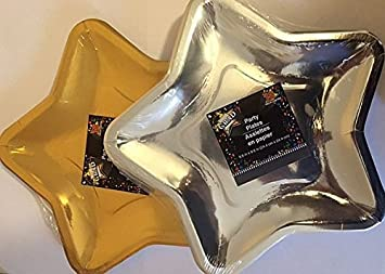 2 Pack Star Shaped Paper Plates 12 Silver 12 Gold by Greenbrier & Amazon.com: 2 Pack Star Shaped Paper Plates 12 Silver 12 Gold by ...