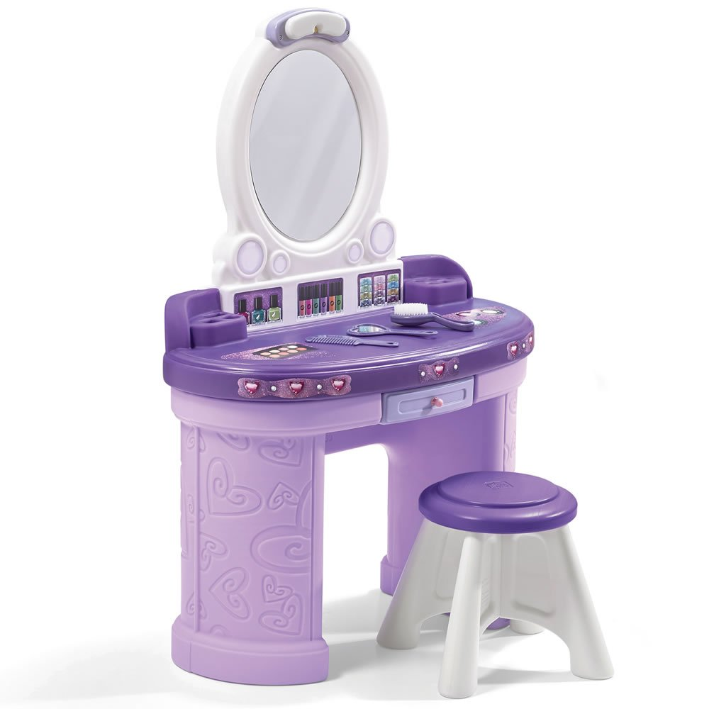 Step2 Pretty & Posh Vanity with Stool   Kids Pretend Play Vanity Set
