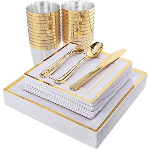 (IOOOOO 150PCS Gold Square Plates, Gold Plastic Silverware with Disposable Cups Includes 25 Dinner Plates, 25 Dessert Plates, 25 Forks, 25 Knives, 25 Spoons, 25 Tumblers)