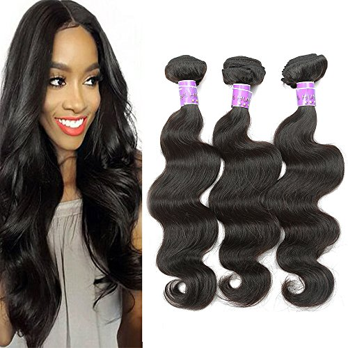 BLACKMOON HAIR 18 20 22 Inch Indian Virgin Remy Human Hair Extension Hair Weave Bundles 3 Bundles Body Wave Unprocessed Natural Black Color (Hair Indian Inch Remy 22)