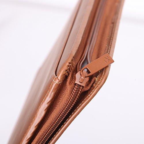 Leathario (Marrón-A5) Marcas de Portafolio de Carpeta Plegable de Mano de PU para Hombres, Diseñado para Negocio y para Tomar notas Marrón-A5-1