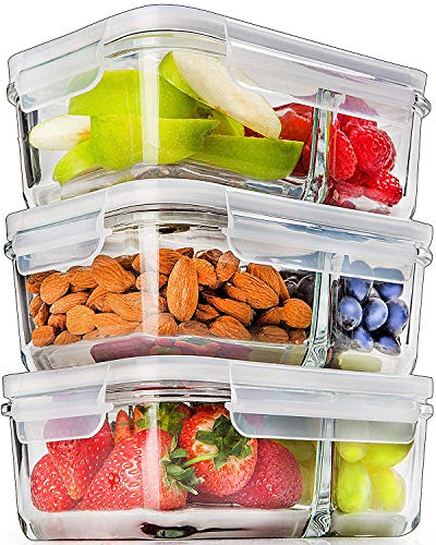 Prep Naturals Glass Meal Prep Containers Glass 2 Compartment (3 Pack) - Glass Food Storage Containers - Glass Storage Containers with Lids - Divided Glass Lunch Containers Food Container 24 Ounce (Lunch Box Glass Container)