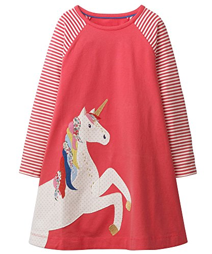 Fiream Toddler Girls Crewneck Long Sleeve Dress, 160pink, 7T/7-8YRS -
