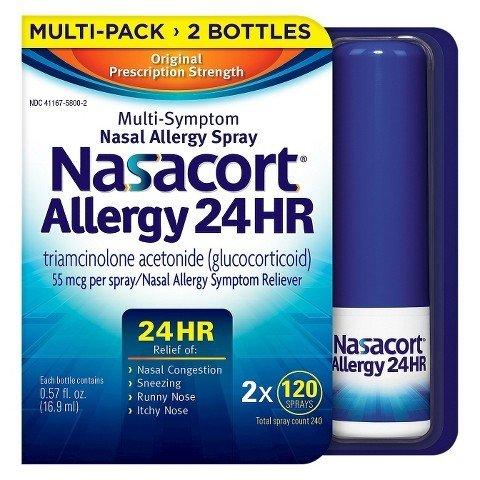Nasacort Nasal Allergy Spray, 720 Sprays Total, 6 x 120 Spray Dispensers, 0.57 Fluid Ounces Each Nasacort-jhj5 by Nasacort