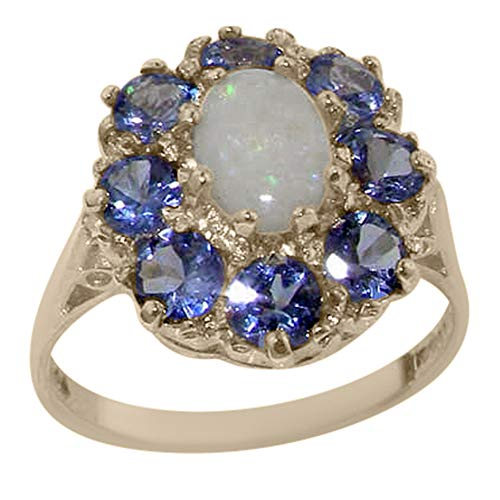 925 Sterling Silver Real Genuine Opal and Tanzanite Womens Band Ring