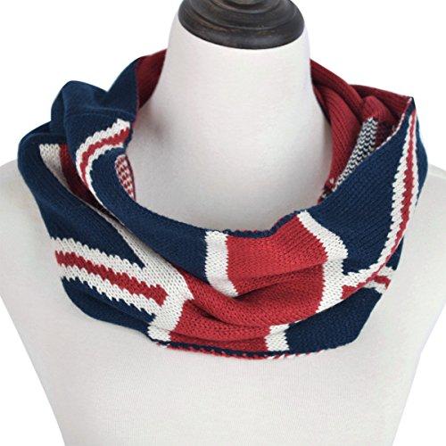 Unisex Soft Winter Knit UK British Flag Union Jack Infinity Loop Circle Scarf