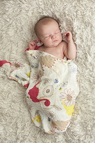 Dancing Dinos 47x47 70% Bamboo 30% Organic Cotton Swaddle Blanket, Best Baby Shower Gift, Muslin Swaddle Blanket, Stroller Cover, Large Baby Swaddle, Receiving Blankets, Dinosaurs