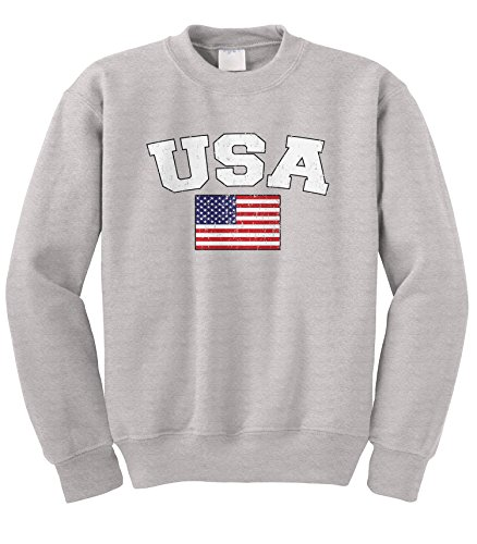 Cybertela Faded Distressed USA Flag Crewneck Sweatshirt (Light Gray, Medium) Patriots Crewneck