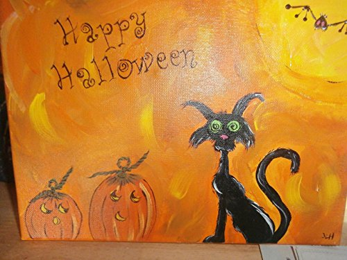 - Hand painted 8 x 10 lighted Halloween canvas. . Painted in fun scared black cat and pumpkin. Battery operated lights. Fun times.