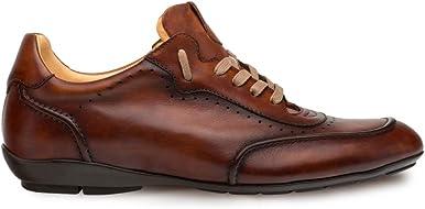 Mezlan Tivoli - Zapatillas de moda para hombre - parte superior quemada con suela de piel contorneada - Hecho de piel de becerro española - Hecho a mano en España - Ancho medio (10 coñac)