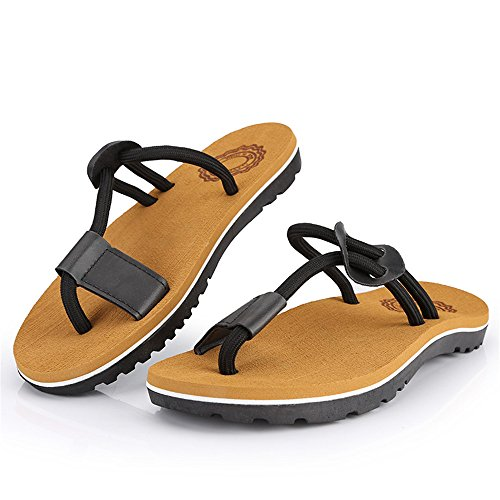 Flip Black Non Abrasion Sunny Sandals Color Shoes Casual Rope Soft Black Men's 7MUS Flat Beach Thong Flops Size Slip Slippers Resistant amp;Baby wvxUBqvI