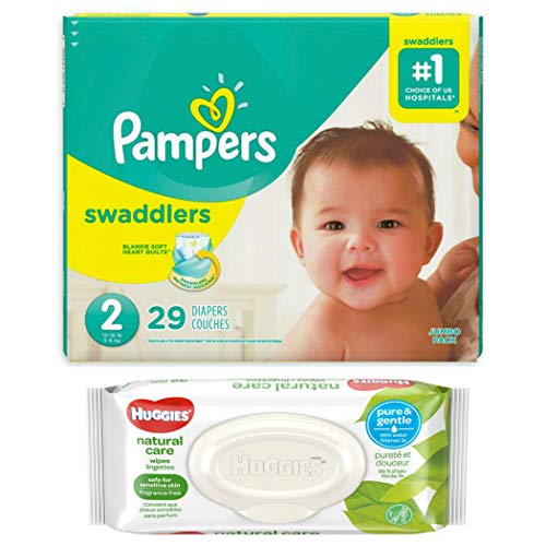 Pampers Swaddlers Disposable Diapers Size 2 (29 ct) Bundle with Huggies Natural Care Flip Top Baby Baby Wipes (32 ct) ()