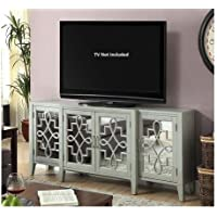 Acme Furniture Kacia 90190 72 Console Table with 4 Mirrored Doors Shelves Metal Hardware Tapered Legs and Solid Hardwood Construction in Antique Grey