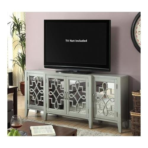 """Acme Furniture Kacia 90190 72"""" Console Table with 4 Mirrored Doors Shelves Metal Hardware Tapered Legs and Solid Hardwood Construction in Antique Grey"""