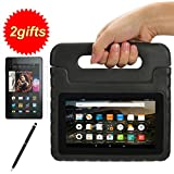 Suplik Kids-proof Shockproof Protective Stand Cover Case with Handle for Amazon Kindle Fire 7 inch 2015 5th Generation or Kids Edition Tablet (Black)